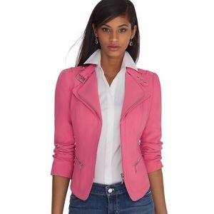 White House Black Market Pink Moto Jacket